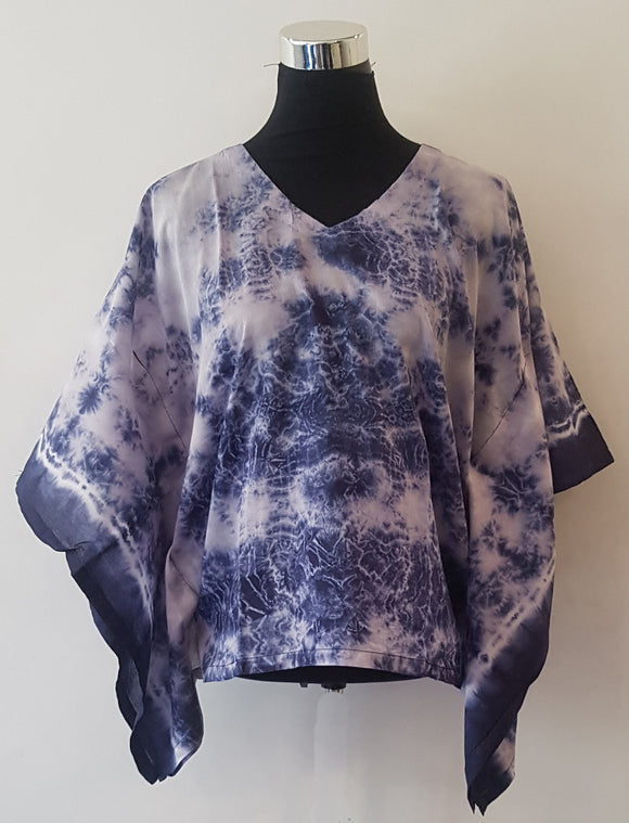 Shibori Blue Kaftan Top (C)