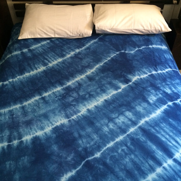 Shibori Blue Bed Cover with Pillow Covers (D)