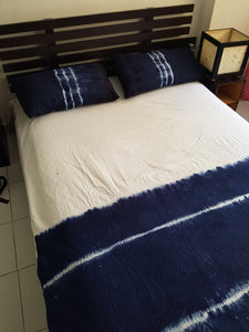 Shibori Blue Bed Cover with Pillow Covers (H)