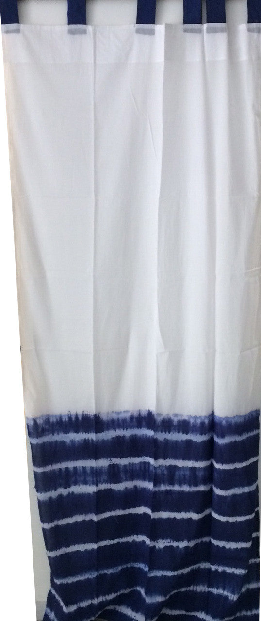 Shibori Sheer Curtain - Blue Border