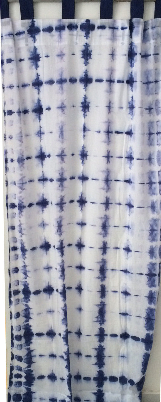 Shibori Sheer Curtain - Blue