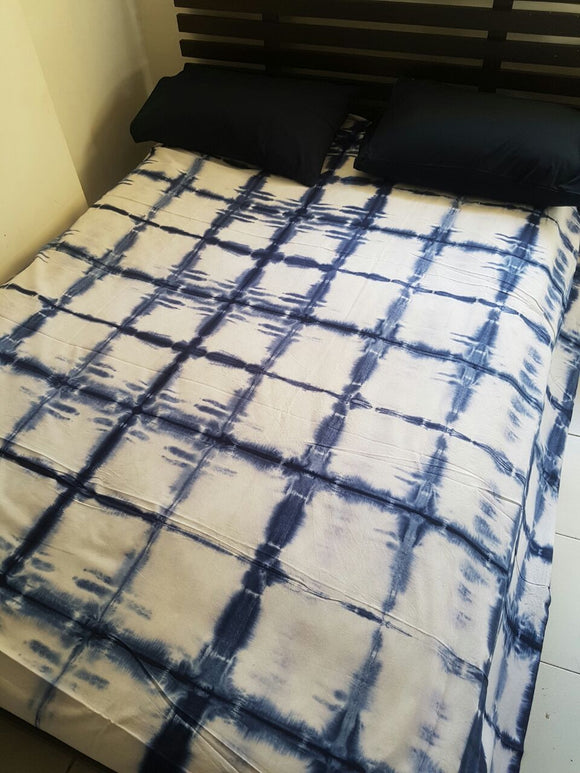 Shibori Blue Bed Cover with 2 Pillow Covers (S)