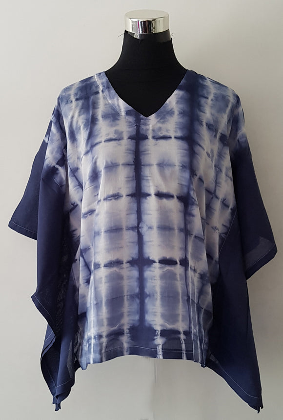 Shibori Blue Kaftan Top (CS)