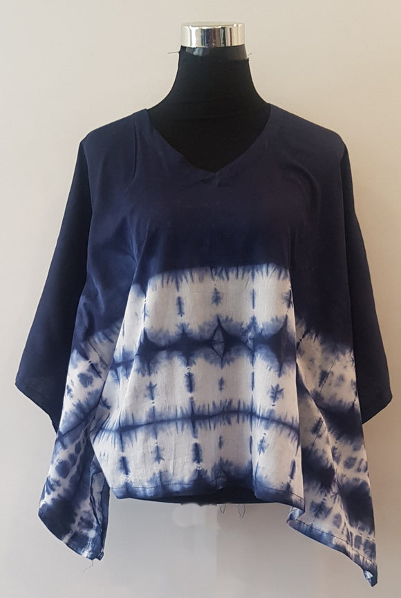 Shibori Blue Kaftan Top (BS)