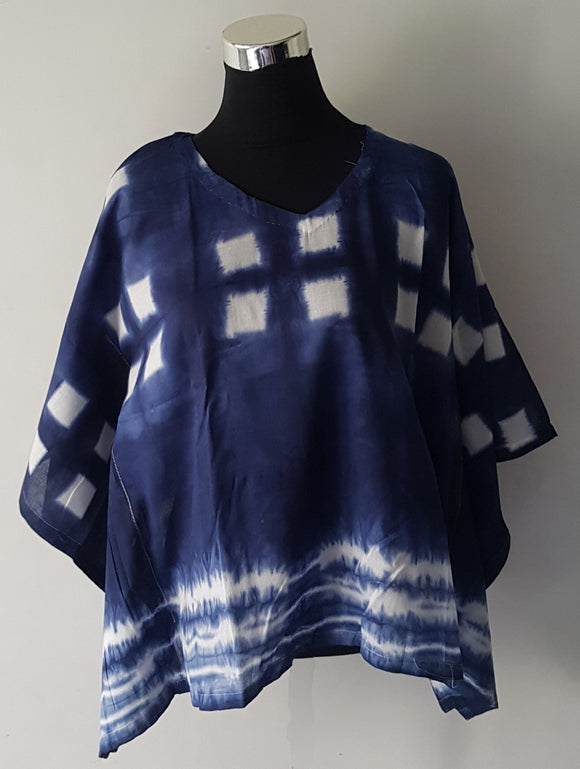 Shibori Blue Kaftan Top (TBS)