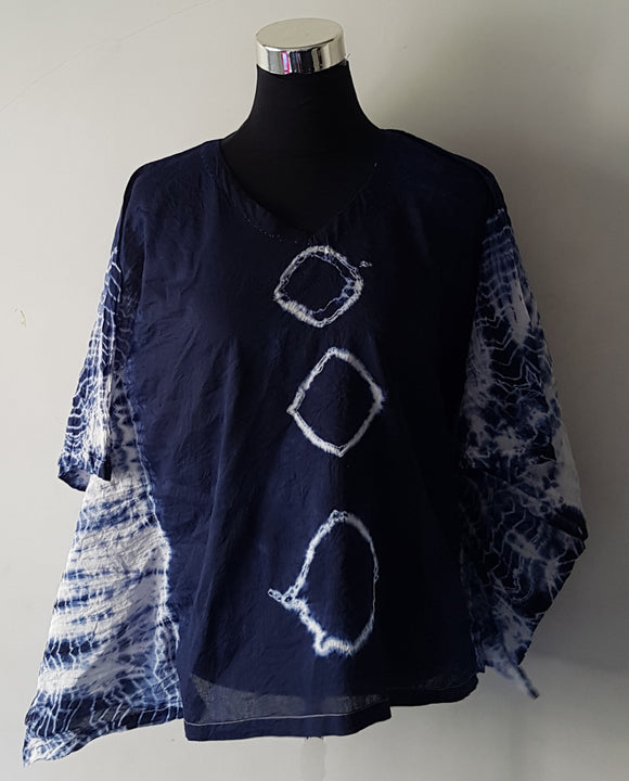 Shibori Blue Kaftan Top (C3S)
