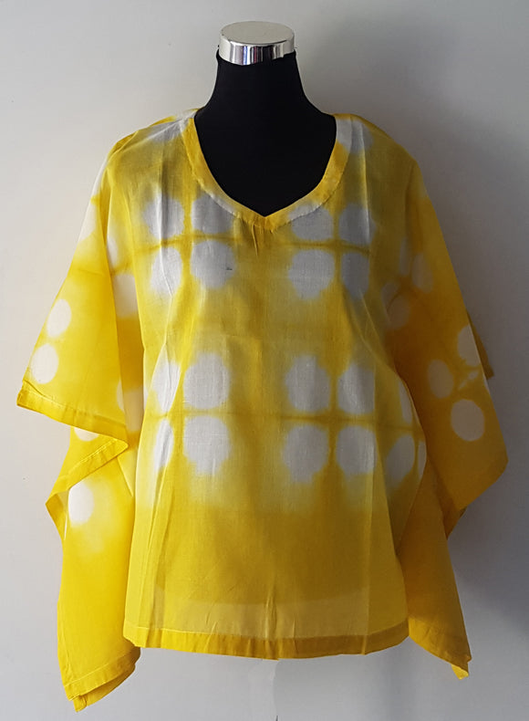 Shibori Yellow Kaftan Top (O)