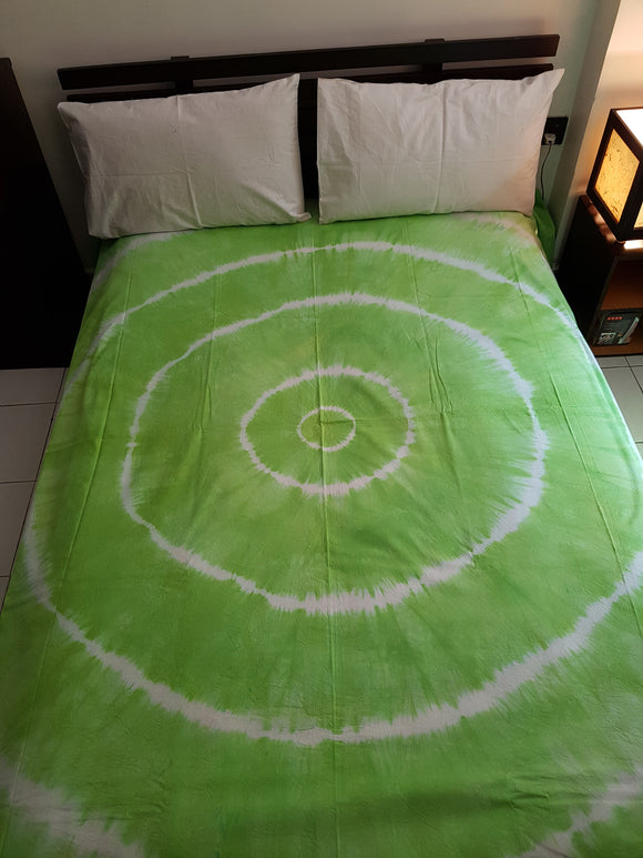 Shibori Green Bed Cover with 2 Pillow Covers (CCC)