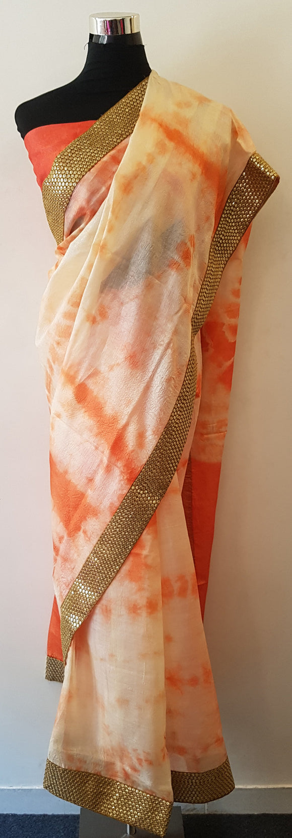 Shibori Tussar Silk Orange Saree