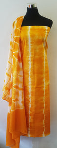 Shibori Orange Kurta Material + Orange Dupatta (VL-S)