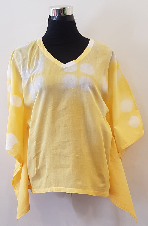 Shibori Peach Yellow Kaftan Top