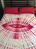 Shibori Pink Bed Cover with Pillow Covers (C)