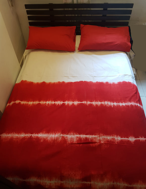 Shibori Red Bed Cover with Pillow Covers (H)