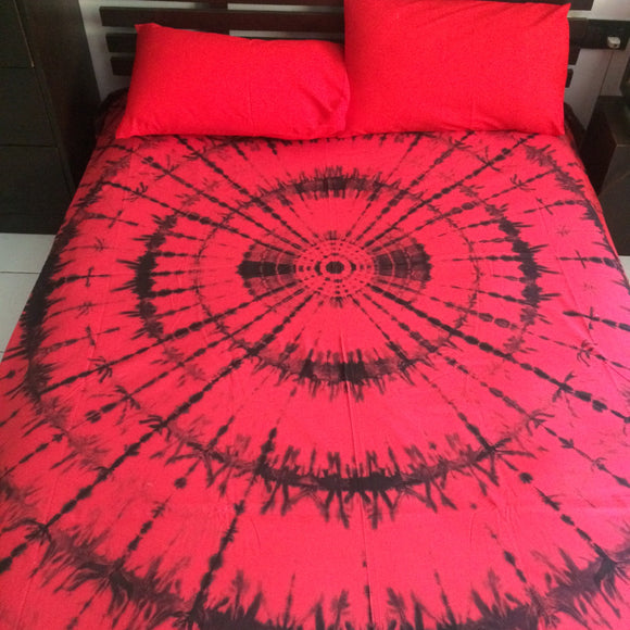 Shibori Red and Black Bed Cover with Pillow Covers