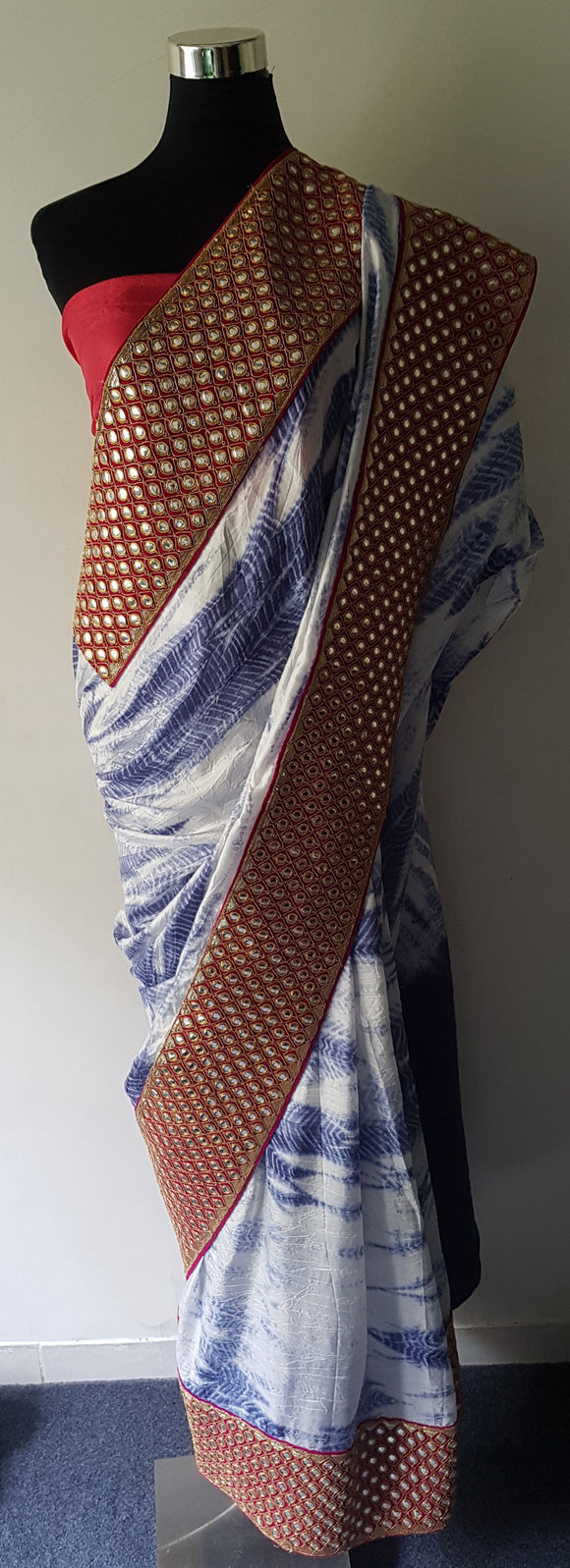 Shibori Blue Pure Silk Saree