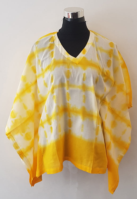 Shibori Yellow Kaftan Top (N)