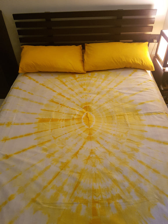 Shibori Yellow Bed Cover with Pillow Covers (C)