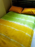 Shibori Yellow-Green Bed Cover with Pillow Covers