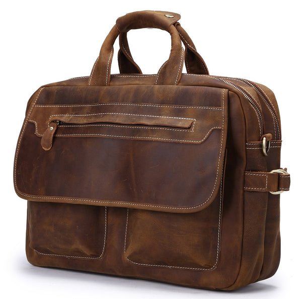 Vintage Genuine Leather Briefcase Messenger Bag Laptop Bag(C27)