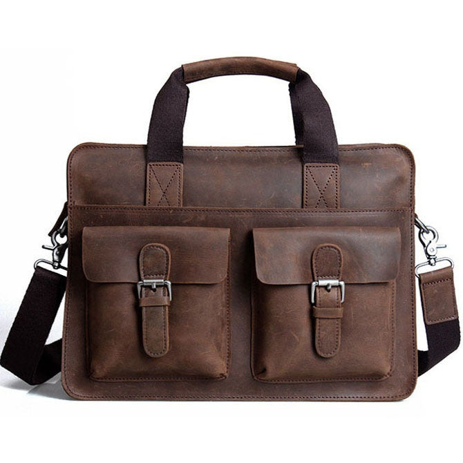 "Distressed Leather Briefcase Messenger Shoulder Bag 14"" Laptop Macbook Bag"