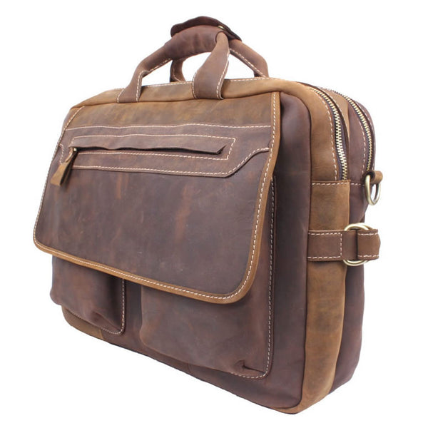 "Men's Handmade Vintage Leather Briefcase / Leather Messenger Bag / 15"" MacBook Pro 14"" Laptop Bag / Travel Bag - MASSY"