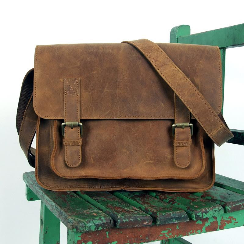 "Handmade Vintage Leather Messenger Bag / Leather Satchel / Leather Cross Body Bag / 11"" MacBook / iPad Bag"