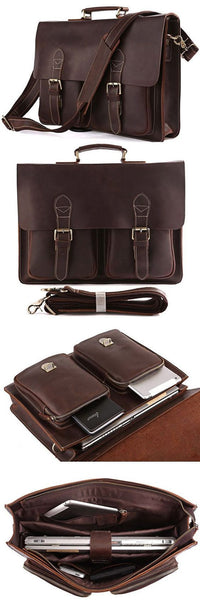 "MEN'S Vintage Leather Briefcase / Messenger / 14"" Laptop 15"" MacBook Bag(RY02)"