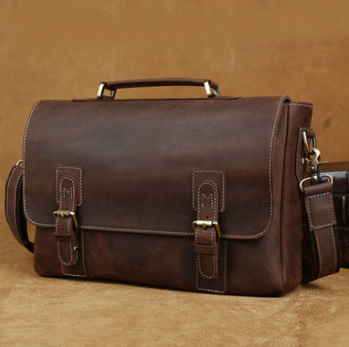 Handmade Vintage Genuine Leather Briefcase Laptop Bag(C07)