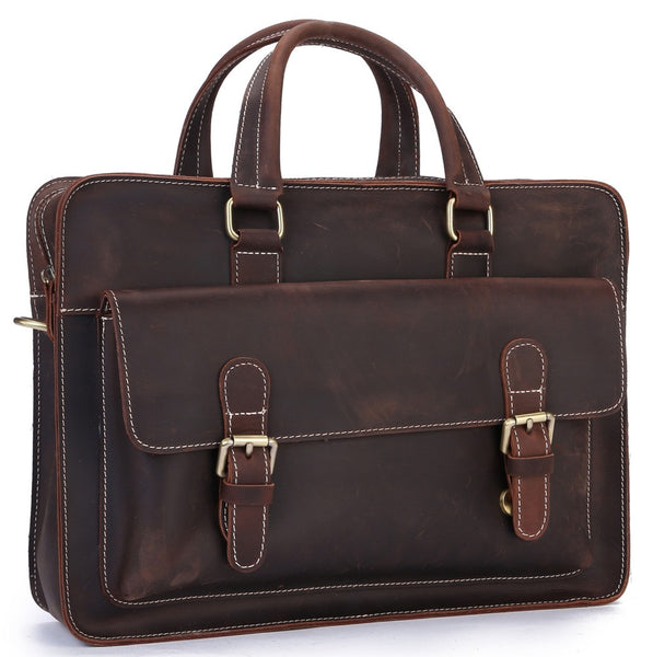 Men's Vintage Genuine Leather Shoulder Bag Laptop Briefcase Business Office Bag(P05)