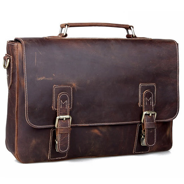 "Vintage Handmade Crazy Horse Leather Briefcase / Messenger / 13"" 14"" Laptop or 13"" 15"" MacBook Bag (S22)"