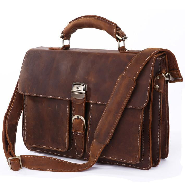 "Men's Handmade Vintage Leather  15"" MacBook 14"" 15"" Laptop Bag (S27)"
