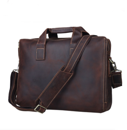 leather shoulder bag, leather briefcase, laptop bag (C1-4)