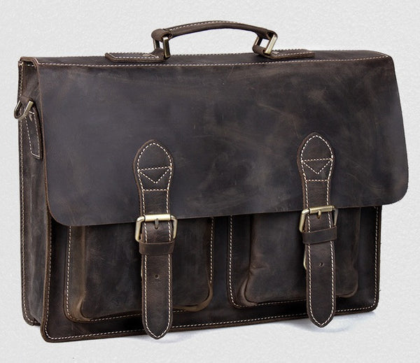 "Handmade Crazy Horse Leather Briefcase / 13"" 14"" Laptop Bag (S23)"