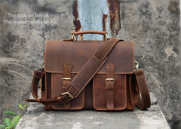 "Handmade Vintage Leather Messenger Bag / Leather Briefcase / Leather Satchel / 13"" MacBook 13"" Laptop Bag (S25)"