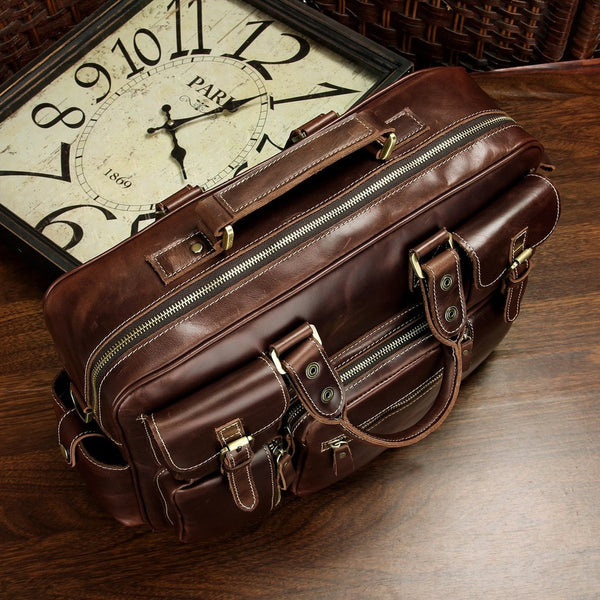 Vintage Handmade Antique Leather Travel Bag / Tote / Messenger Bag / Overnight Bag(J08)
