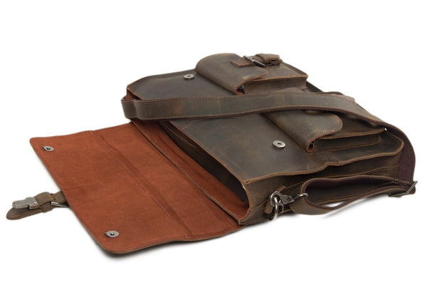 Hand Stitched Leather Messenger Bag, Mens Messenger Bag, Leather Accessories For Men(C809)