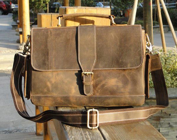 "Handmade Vintage Leather Briefcase / Leather Messenger Bag / Leather Satchel / 11"" MacBook Air or 12"" Laptop Bag  D012"