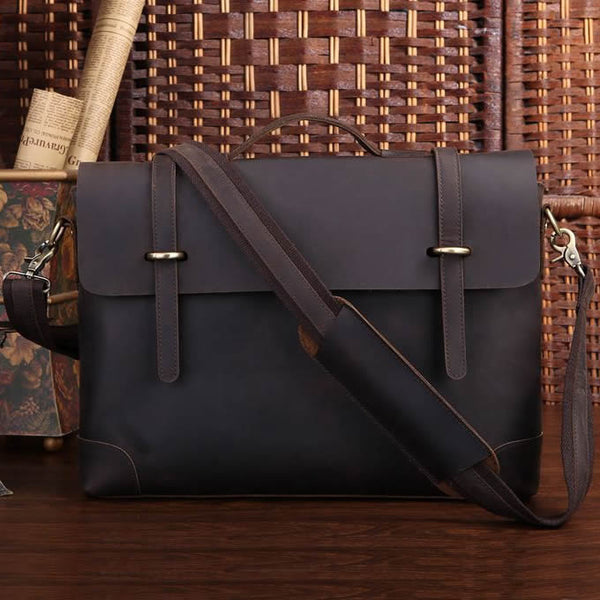 "Handmade Vintage Leather Briefcase / Leather Messenger Bag / 13"" 15"" MacBook 13"" 14"" Laptop Bag D36"