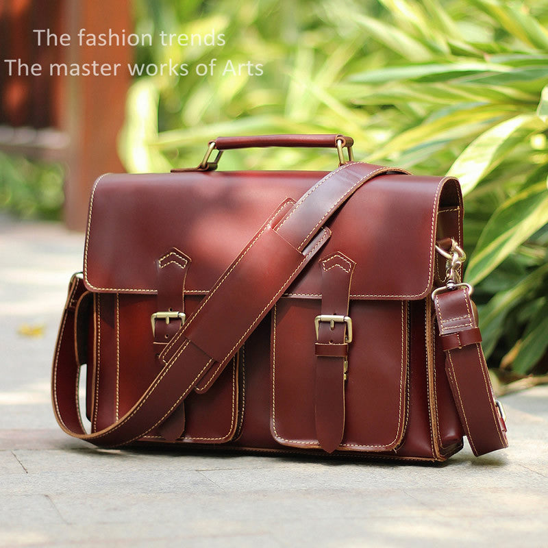 d902a9009285 Handmade Leather Messenger Bag / Leather Briefcase / Leather Satchel / 13