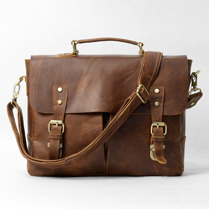 "Handmade Vintage Leather Briefcase / Satchel / Messenger / 11"" 13"" MacBook 13"" 14"" Laptop Bag D26"