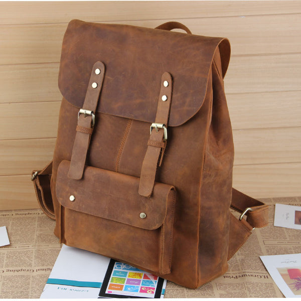 "Large Handmade Vintage Leather Backpack / Leather Satchel / Leather Travel Bag / Day Pack / Weekend Bag / 17"" MacBook 17"" Laptop Bag  D38"