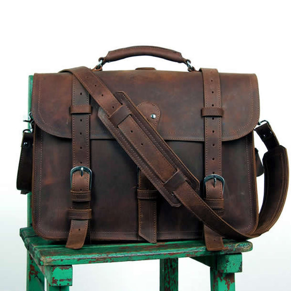 Men's Large Handmade Vintage Leather Briefcase / Leather Satchel / Leather Travel Bag -- Leather Backpack / Leather Messenger Bag  C10
