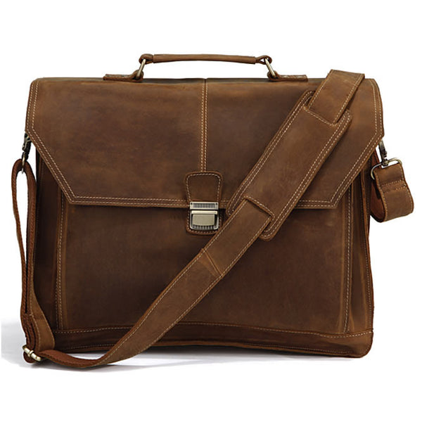 "Men's Handmade Vintage Leather Briefcase / Leather Messenger Bag / Leather Satchel / 15"" 17"" MacBook 15"" 16"" Laptop Bag / Travel Bag D28"