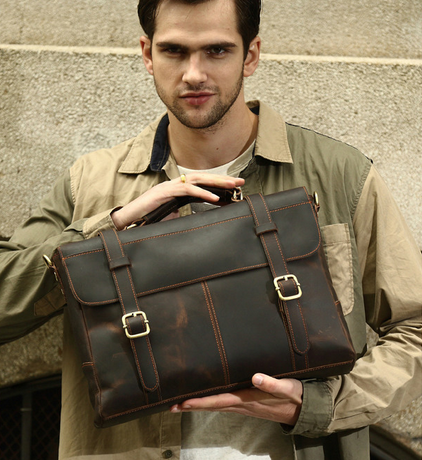 "Men's Handmade Vintage Leather Briefcase / Leather Messenger Bag / 13"" 15"" MacBook 13"" 14"" Laptop Bag(G10)"