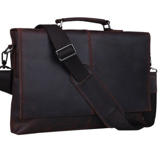 Dark Brown Oil-pull Business Casual Messenger Bag  (c-3)