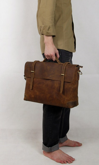 "Handmade Leather Briefcase / Leather Messenger Bag / 13"" 15"" MacBook 13"" 14"" Laptop Bag S21-1"