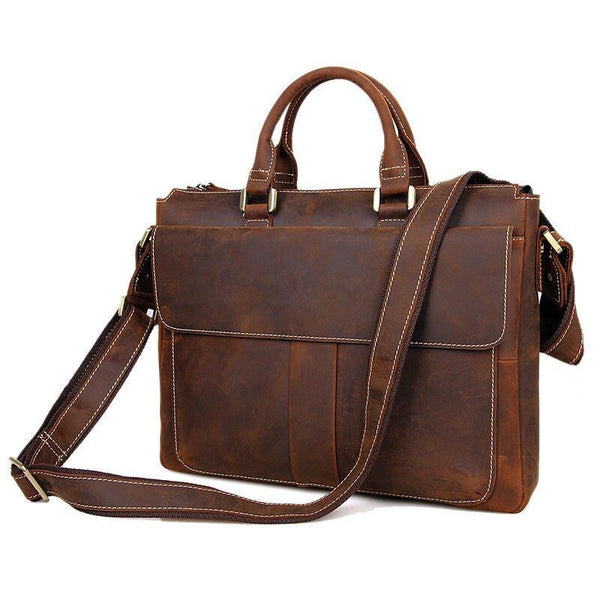 "Distressed Leather Briefcase Messenger Shoulder Bag 14"" Laptop Macbook Bag(s78)"