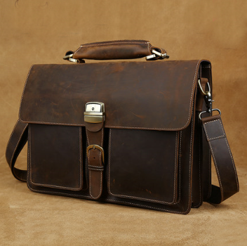Hand Stitched Leather Messenger Bag(C24)