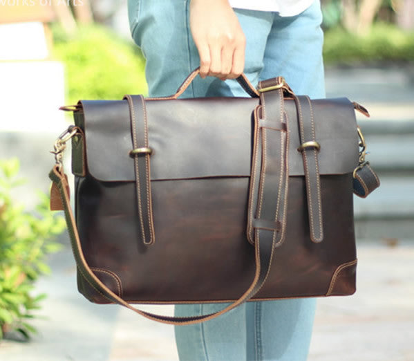 "Men's Handmade Leather Briefcase / Leather Messenger Bag / 13"" 15"" MacBook 13"" 14"" Laptop Bag"