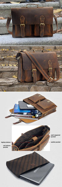 "Men's Handmade Vintage Leather Briefcase / Leather Messenger Bag / 13"" 15"" MacBook 14"" 15"" Laptop Bag v10"